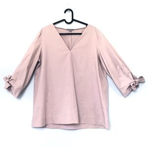 COS blush pink tie sleeve drape cotton v neck top